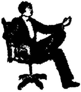 A Man of Letters logo: a seated man in formal attire making a presentation.